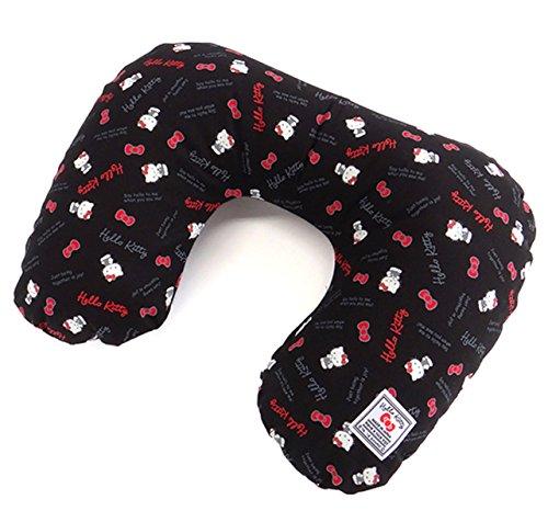 [해외]헬로 키티 일본 제 여행용 어 비즈 베개 스탠다드 로고 블랙 / Hello Kitty Japan Travel Air neck Pillow Standard logo Black
