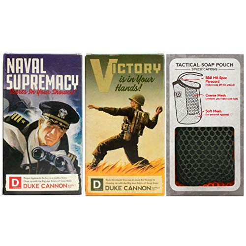 Duke Cannon Soap on a Rope for Men Set: Tactical Scrubber Soap Pouch & (2) Big Brick of Soap Victory and Naval Supremacy, 10oz - WWII Limited Edition Box