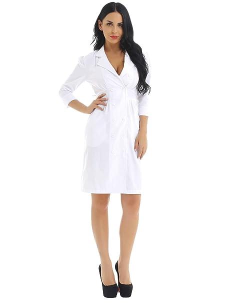 b7fc5aa2251 Amazon.com: iEFiEL Adult Long Sleeve Scrubs Lab Coat Medical Nurse Doctor  Uniform Coat: Clothing