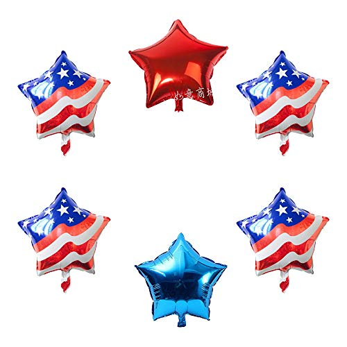 Mundominiatura 4th of July Balloons,4 July decorations, American Mylar balloons, flag foil balloons, patriotic veteran day, Fourth of July Patriotic flag, Memorial Day, Independence Day, 6pcs, - Balloon Celebrations Metallic