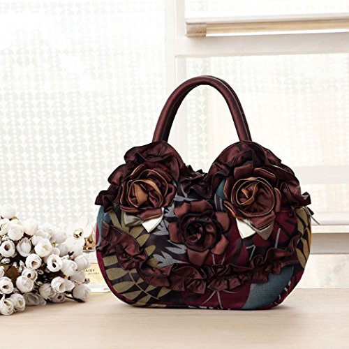 Bag Canvas Handbag Coffee Shopping Simple Pink Pocket Lady Casual Purse Flower Women Zipper Hot JAGENIE qngYft6Y