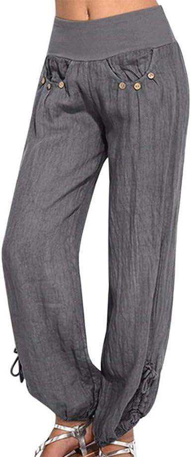 Pantalones de Verano Informales de algodón y Lino Harem, Ligeros ...
