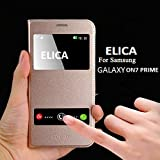 ELICA Double Window Leather Flip Cover for Samsung Galaxy On7 Prime (Gold)
