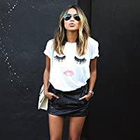 WOCACHI Womens Blouses Ladies Eyelash Lips Printing Summer Loose Tops Short Sleeve T Shirt Tee 2019 Spring July 4th Under 5 Up to Deals Tanks Top Vest Bottoming Shirts