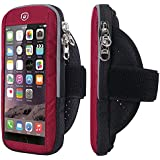Sports Armband, Venoro Exercise Workout Fitness Universal Smartphone Fingerprint Touch Waterproof Arm Bag with Adjustable Velcro Armband for iPhone X 8 7 6S, Galaxy S9 S8 S7 Edge (Red)
