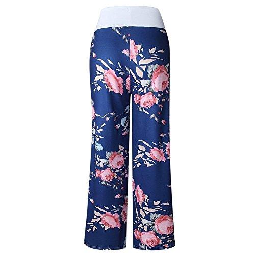 Baggy Casual Blau Stampa Yoga Pantaloni Eleganti Donna Palazzo Fiore Women Per Con Sciolto Elastica Vita Giovane Grazioso Coulisse Vintage Sportivi 5qHvHw4