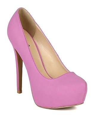 BK03 Women Nubuck Almond Toe Stiletto Heel Platform Pump - Orchid