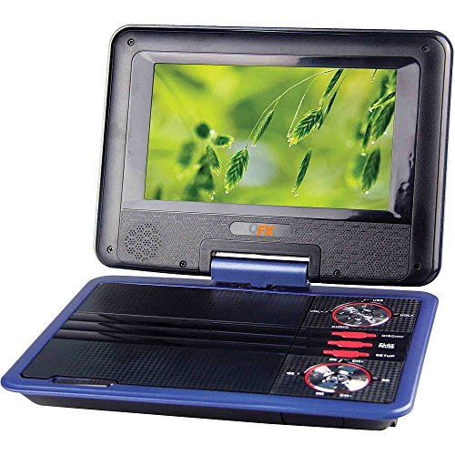 """QFX Portable 7"""" Widescreen Multimedia DVD Player Ideal for Travel, Road Trips, Plane Rides Features a 4 Hour Rechargeable Battery Plus 12V Car Adaptor & Remote Control"""