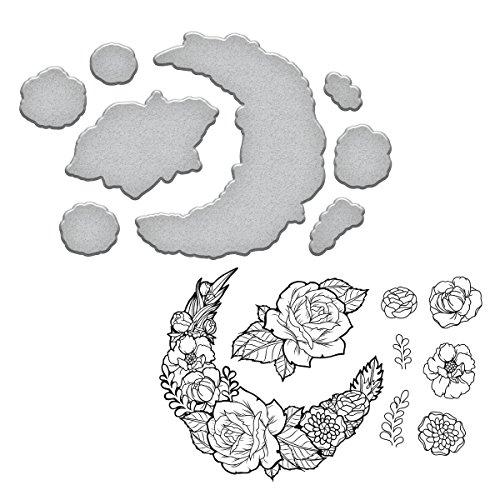 (Spellbinders Moon Flower Cool Vibes Stamp and Die Set)