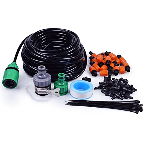 MIXC 1/4-inch Mist Irrigation Kits Accessories Misting Cooling System with 50ft 1/4