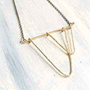 Open Triangle Geometric Dancing Gold Brass Statement Necklace - Antique Brush Finish Chain 24 inches Long with