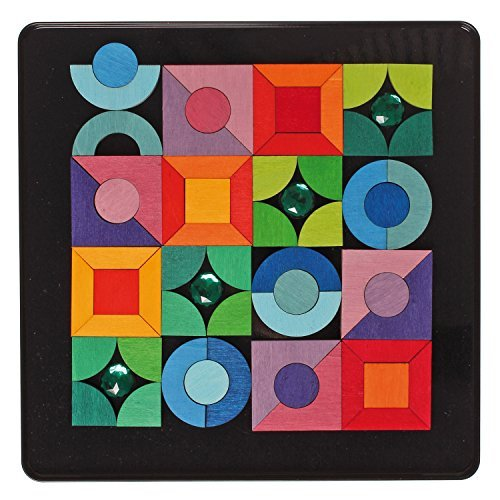 Grimm's Triangles, Squares, Circles & Jewels - Wooden Mini Magnetic Creative Play Design Puzzle in Travel Box by Grimm's Spiel and Holz Design
