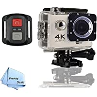 FrenzyDeals White Ultra HD Wifi Waterproof Sports Camera with Wrist RF remote + FrenzyDeals Microfiber Cloth