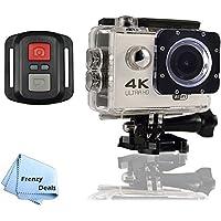 FrenzyDeals White Ultra HD Wifi Waterproof Sports Camera with Wrist RF remote + FrenzyDeals Microfiber Cloth