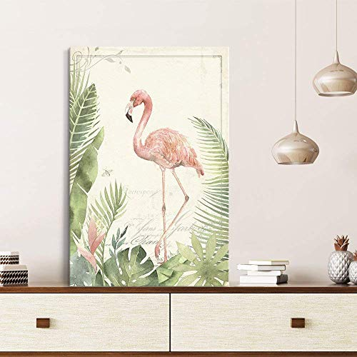 - wall26 Canvas Wall Art - Vintage Style Flamingo on Tropical Plants Background - Giclee Print Gallery Wrap Modern Home Decor Ready to Hang - 12x18 inches