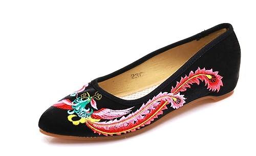 Bordado Zapatos/Alpargatas/ Merceditas/Zapatos Bordados Rojos Zapatos de Boda Zapatos Femeninos Chinos Novia: Amazon.es: Zapatos y complementos