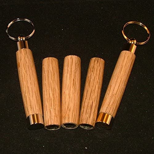 Sewing Needle Case Keychain in Acacia and 10k Gold