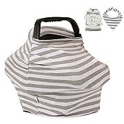Pupiki Nursing Breastfeeding Cover: Soft, Cute, Stretchy Baby Breastfeeding Scarf w/Carry Bag + Bandana Drool Bib| Top Multipurpose Infant Canopy/Baby Car Seat Cover/Stroller