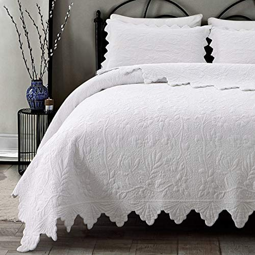 Brandream White Quilts Set Queen Size Bedspreads Farmhouse Bedding 100% Cotton Quilted Bedspreads