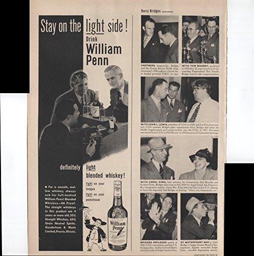 (William Penn Definitely Light Blended Whiskey Light On Your Tongue Light On Your Pocketbook 1950 Vintage Antique Advertisement)
