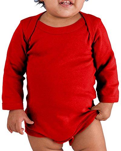 Rabbit Skins Drop Ship Infant Baby Rib Lap Shoulder Long Sleeve Creeper, 18MOS, RED
