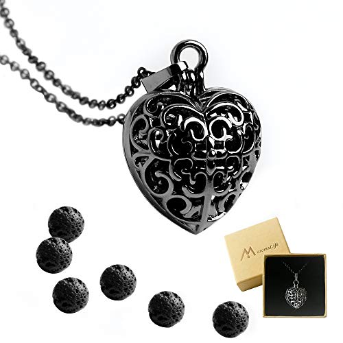 Maromalife Essential Oil Necklace, Lovely Heart Diffuser Scent Diffuser Locket Pendant with 6 Black Lava Stone with 25.5