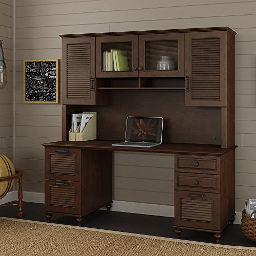 kathy ireland Office by Bush Furniture ALA175CC Volcano Dusk Double Pedestal Desk with Hutch, 68 Inch, Coastal Cherry from Bush Furniture