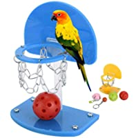 Bird Training Toy, Womdee Parrot Activity Toys With Mini Basketball Stands, Bird Chew Bites For Small Parakeets Cockatiels, Conures, Macaws, Parrots, Love Birds, Finches, Yellow L