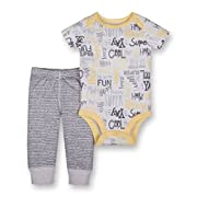 Lamaze Baby Boys Organic 2 Piece Bodysuit and Pant Set, Gray, 6M
