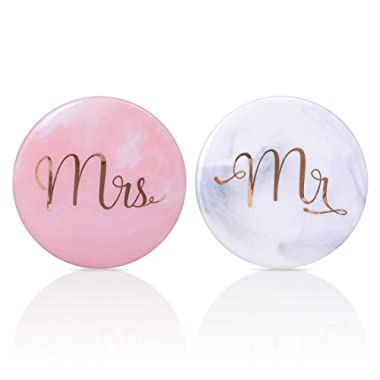 Luspan Mr Mrs Grey Marble Stone Coasters- 3.7 Inches in Diameter- Prefect Match with Mr Mrs Coffee Mugs for Couples