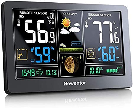 Amazon Com Newentor Weather Station Wireless Indoor Outdoor Thermometer Color Display Digital Weather Thermometer With Atomic Clock Forecast Station With Calendar And Adjustable Backlight Industrial Scientific