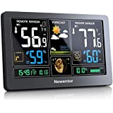 Newentor Weather Station Wireless Indoor Outdoor Thermometer, Color Display Digital Weather Thermometer with Atomic Clock, Fo