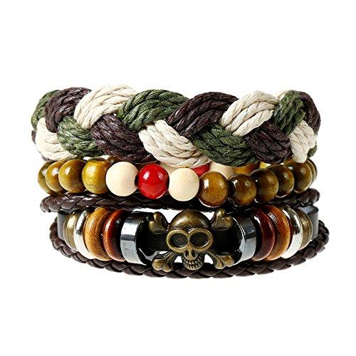 Ethnic Cuff (Punk Vintage Leather Bracelets,Beaded Braided Bracelets,Hemp Cords Ethnic Tribal Bracelets, Unisex Cuff,Set of 4 (SZ001))
