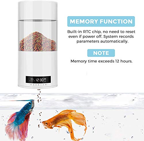 IWillBe Automatic Fish Feeder, 2019 Newly Upgraded Smart Fish Feeder with Memory Function and Dual Power Supply for Aquarium Tank Home Office Use