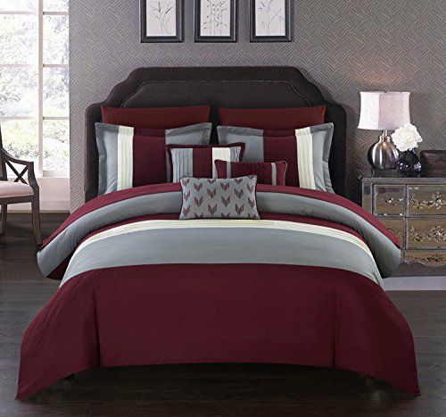 - Chic Home Izar 10 Piece Comforter Set Color Block Ruffled Bed in a Bag Bedding - Decorative Pillows Shams Included, Queen Burgundy