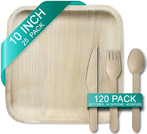 """Palm Leaf Plates 10"""" and Wooden Cutlery Bundle - 25 Square Plates, 120pc Set of 40x Spoons, Forks, Knives - Disposable Ecofriendly Biodegradable Dinnerware - Better than Bamboo, Paper or Wood"""