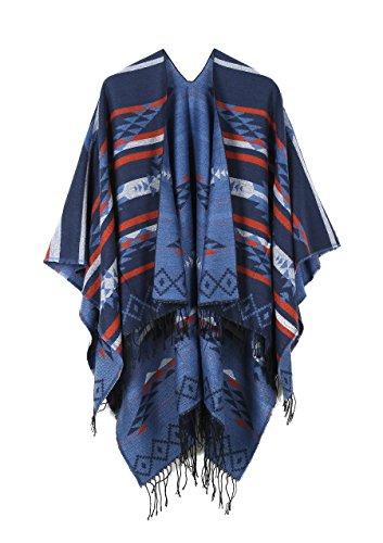 JURUAA Plus Size Knitted Poncho Sweater Shawls Wraps Cape Ruana Coat Dark Blue