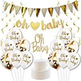 Gender Reveal Party Decorations for Gender Neutral Baby Shower Gold Banner Cake Toppers Pack