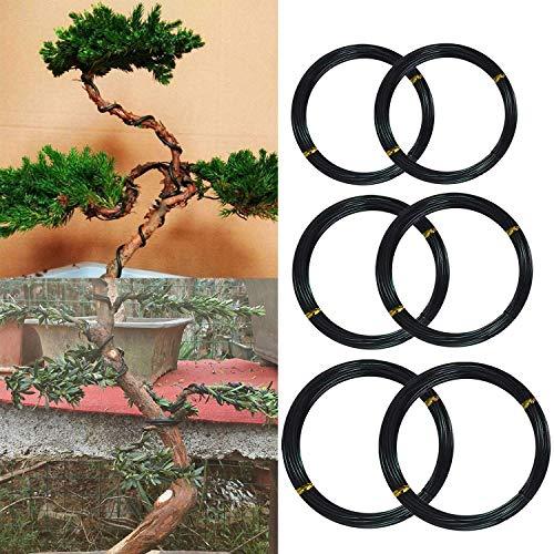 Jacinta 6 Roll 5m Aluminum Tree Coaching Wires Backyard Bonsai Freshmen Trainers Artists Crops Bushes Coaching Wire 1mm/1.5mm/2mm Black