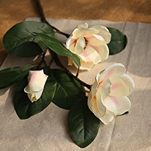 Icocol Artificial Fake Magnolia Floral Flowers Leaf Wedding Bouquet Party Home Decor Art (Beige) 2