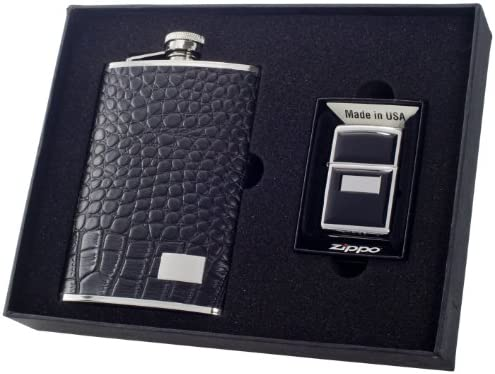 Amazon Com Visol Gator Flask And Zippo Lighter Gift Set 8 Ounce Kitchen Dining