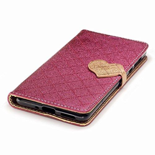 Yiizy Nokia 5 Funda, Amar Diseño Solapa Flip Billetera Carcasa Tapa Estuches Premium PU Cuero Cover Cáscara Bumper Protector Slim Piel Shell Case Stand Ranura para Tarjetas Estilo (Rojo)