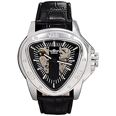 Men, mechanical watches, automatic, casual, personality, PU leather, W0230