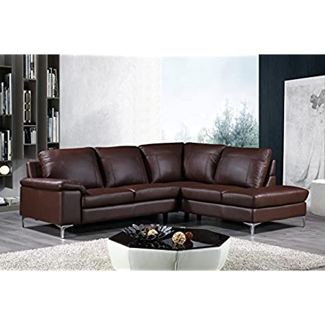 Cortesi Home Contemporary Dallas Genuine Leather Sectional Sofa With Right Chaise Lounge Brown