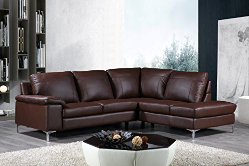 Genuine Leather Sofa (Cortesi Home Contemporary Dallas Genuine Leather Sectional Sofa with Right Chaise Lounge, Brown)