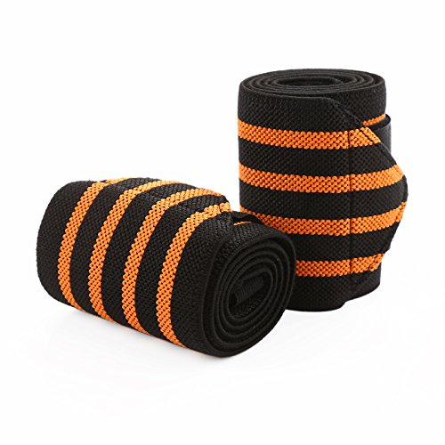 RUNJOY 18 Inch Wrist Wraps Weightlifting, Powerlifting, Wrist Straps For Crossfit, Strength Training, Bodybuilding 2 Pack – Wrist Support Braces for Men and Women (Black/Orange) -