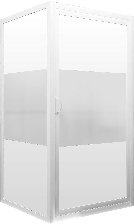 Puerta de ducha giratoria con pared lateral, cristal transparente con marco serigrafiado, perfil blanco, 90 x 90 x 180 cm: Amazon.es: Bricolaje y herramientas