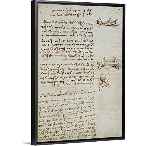 - Leonardo da Vinci Floating Frame Premium Canvas with Black Frame Wall Art Print Entitled Codex on The Flight of Birds, by Leonardo da Vinci, 1505-1506. Royal Library, Turin 12