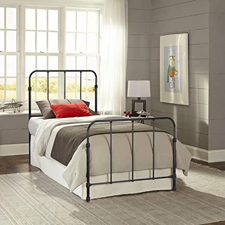 Fashion Bed Group Nolan Space Black Kids Twin Bed With Metal Duo Panels