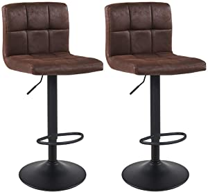 Bar Stool Duhome WY-451 Adjustable Swivel with Backrest Set of 2 Barstools (Dark Brown)